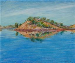 Sale 9161A - Lot 5133 - TERENCE ODONNELL (1942 - ) - An Island with Reflections,Lake Julius, Queensland, 1986 64 x 75.5 cm (frame: 77 x 88 x 3 cm)