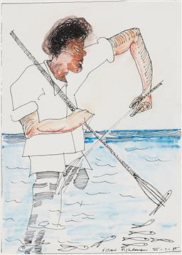 Sale 9221JM - Lot 5073 - CHARLES BLACKMAN (1928 - 2018) Fijian Fisherman, 1985 watercolour and pen on paper 25.5 x 18 cm (frame: 43 x 33 x 2 cm) signed and d...