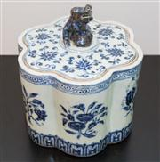 Sale 8308A - Lot 22 - A Chinese blue and white petal shaped container with cover, floral motif, marks on side of the body, H 22cm