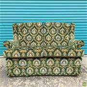 Sale 8649R - Lot 139 - Green Fabric Upholstered Button Backed Settee with Gilt Floral Decoration (H: 93 W: 190 D: 70cm)