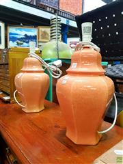 Sale 8648 - Lot 1059 - Pair of Italian Made Hexagonal Shaped Table Lamps in Salmon