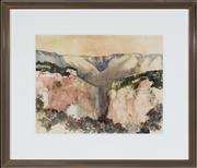 Sale 8782A - Lot 10 - John Caldwell, Blue Mountains scene, watercolour,  size 44 x 56cm signed lower right