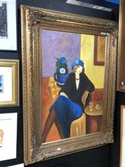 Sale 8779 - Lot 2009 - A. Marsello - Aperitif (After Itzchak Tarkay), acrylic on canvas, 120 x 89cm(frame) signed lower right