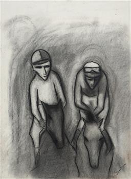 Sale 9096 - Lot 546 - Robert Dickerson (1924 - 2015) The Race - Spring Carnival charcoal 75 x 55 cm (frame: 91 x 71 x 4 cm) signed lower right