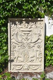 Sale 9087H - Lot 218 - A composition stone wall plaque. 1.2m height, 80cm wide
