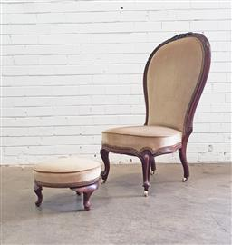 Sale 9126 - Lot 1215 - Victorian Mahogany Ladys Chair, with exaggerated large balloon back,, upholstered in a cream velvet TOGETHER with a later round foo...