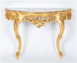 Sale 9140W - Lot 2 - A pair of Custom Built demilune console tables in Louis XV Style, European hand carved wood with gold leaf finish and antiqued mirro...