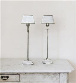 Sale 9135H - Lot 18 - A pair of metal nickel silver finished table lamps with shades (re-wired)  Total Height x 58 cm