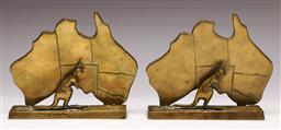 Sale 9136 - Lot 214 - A Pair Of brass kangaroo themed bookends W:15cm