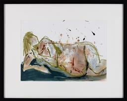 Sale 9191H - Lot 82 - GWYN TOSI Reclining Nude mixed media on paper frame size 48 x 61 cm signed lower right