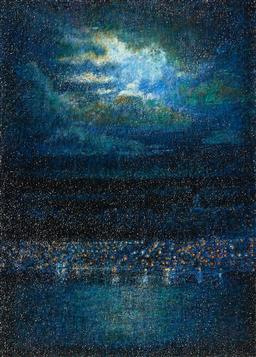 Sale 9244A - Lot 5048 - VICTORIA PEEL (1948 - ) Night Clouds over the Harbour crayon and pastel on paper 71.5 x 51.5 cm (frame: 94 x 71 x 3 cm) signed lower...