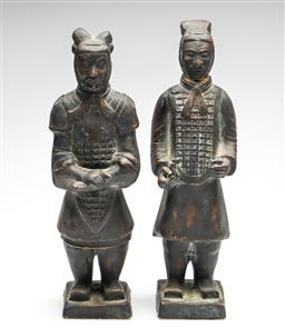 Sale 9253 - Lot 220 - A pair of composite Chinese terracotta warrior figures (H:34cm)
