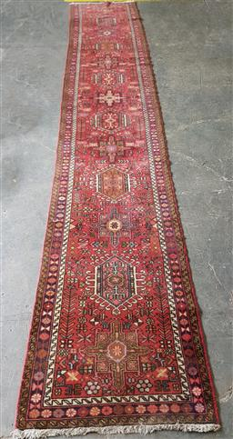 Sale 9255 - Lot 1104A - Handknotted pure wool red tone runner (500 x 80cm)