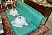 Sale 8093 - Lot 1526 - Modern Milano Design Leather Lounge Setting inc 2 and 2.5 Seater In Green