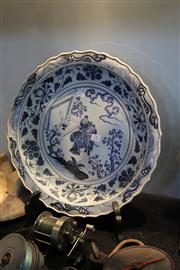 Sale 8116 - Lot 71 - Large Chinese Lobed Blue & White Charger, Depicting Warriors at an Altar Table, Floral Border to Cavetto