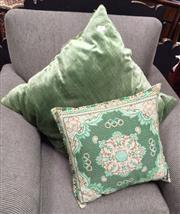 Sale 8222 - Lot 53 - Two green cushions