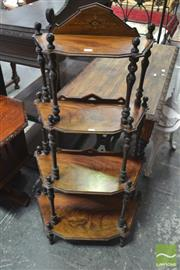 Sale 8291 - Lot 1059 - Victorian Walnut & Marquetry Whatnot, of four graduated tiers on turned supports