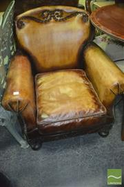 Sale 8312 - Lot 1069 - Leather Armchair with Nail Inlay Pattern