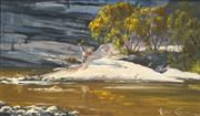 Sale 8475 - Lot 509 - Robyn Collier (1949 - ) - Taking a Dip, Kangaroo Valley 16.5 x 28.5cm