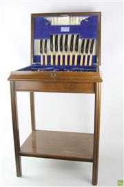 Sale 8568 - Lot 81 - Elevated Cutlery Canteen with Contents (Walker & Hall)