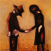 Sale 8592A - Lot 5062 - Charles Blackman (1928 - ) - The Meeting 28 x 28.5cm (image); 51.5 x 52cm (frame)