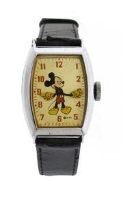 Sale 8618A - Lot 9 - An Art Deco Mickey mouse tank style wristwatch;