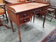 Sale 8728 - Lot 1025 - George IV Mahogany Desk, with gallery back, five drawers & turned legs