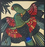 Sale 8907 - Lot 566 - Leslie Van Der Sluys (1939 - 2010) - Red Winged Parrots, 1988 30 x 27 cm