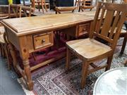 Sale 8912 - Lot 1042 - Timber Desk with Two Drawers & Chair (2)