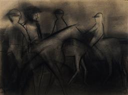 Sale 9141 - Lot 568 - Robert Dickerson (1924 - 2015) Before The Race charcoal 27 x 39 cm (frame: 42 x 51 x 4 cm) signed lower right