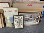 Sale 9028 - Lot 2087 - Group of (3) Decorative Prints: Maurice Utillio, Turner and handcoloured lithograph of Westminster Abbey