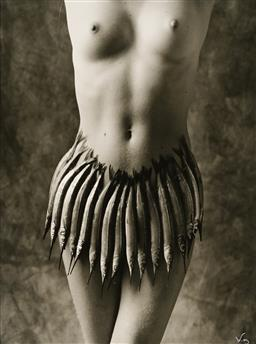 Sale 9109A - Lot 5066 - Louise Lister Standing Nude with Fish Skirt silver gelatin photograph 39.5 x 29.5 cm (frame: 64 x 54 x 2 cm) signed lower right in m...