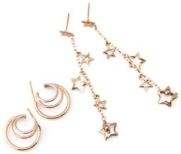 Sale 9124 - Lot 341 - TWO PAIRS OF 9CT GOLD EARRINGS; a pair of chain drop earrings with stars, length 60mm, others 3 tone gold triple hoops, length 16mm,...