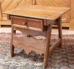 Sale 9120H - Lot 174 - A small rustic timber occasional table with single drawer, Height 49cm x Width 56.5cm x Depth 50cm