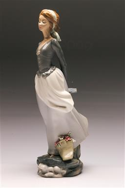 Sale 9122 - Lot 111 - Lladro Figure of a Lady Holding Book (H:35.5cm)
