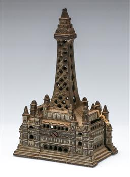 Sale 9156 - Lot 36 - Edwardian cast metal moneybox in the form of the Blackpool tower (H:19cm)