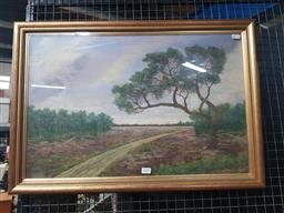 Sale 9159 - Lot 2009 - Artist Unknown Country Track & Landscape, 1960 , Pastel, frame: 48 x 70 cm, signed lower right, labelled verso -