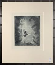 Sale 8098A - Lot 31 - Norman Lindsay, Flight,  etching on paper, posthumous edition 11/55  1933 28 x 25.2cm Bloomsbury Certificate Verso