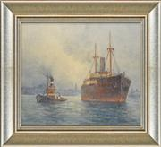 Sale 8281 - Lot 590 - Frederick Elliot (1864 - 1949) - Untitled (Steamboats Sailing from the Harbour) 22 x 33.5cm