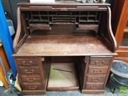 Sale 8447 - Lot 1020 - Oak Roll Top Desk