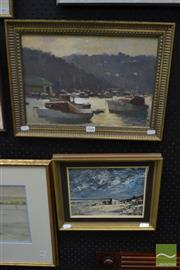 Sale 8471 - Lot 2006 - 2 original oil paintings by Nixon and R Randell, Harbour Scene and Beach Scene, each signed lower, framed and various sizes