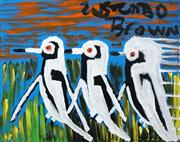Sale 8526 - Lot 541 - Trevor Turbo Brown (1967 - 2017) - Magpie Family, 2015 50 x 60cm (stretched/framed & ready to hang)
