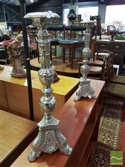 Sale 8532 - Lot 1062 - Pair of Metal Candlesticks