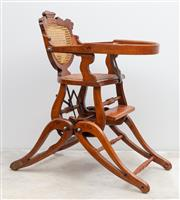 Sale 8644A - Lot 30 - A C19th (1871) metamorphic childs high chair, medium chair & rocking chair with cane back & seat.
