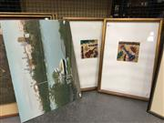 Sale 8659 - Lot 2154 - Group of 3 Artworks: View of Mosman; and a pair of handcoloured etchings, framed and various sizes