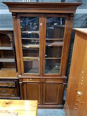 Sale 8728 - Lot 1086 - Victorian Mahogany Bookcase, with two arched astragal panel doors, two drawers below & two timber panel doors (key in office)