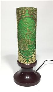 Sale 8706A - Lot 68 - A vintage filigree apsara dancer lamp, metal and glass shade with bakelite base general wear, H 27 x D 11cm