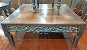Sale 8939 - Lot 1057 - Chinese Rosewood Square Occsional Table, with pierced floral aprons (shrinkage to top/ legs reduced) H: 37 W: 91 D: 91 cm