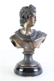 Sale 8957 - Lot 22 - A Cast Metal Bust of A Man on Marble Base (H 36cm)