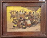 Sale 8973 - Lot 2041 - Artist Unknown Market Gathering 1975oil on canvas, 34 x 42cm (frame), signed and dated lower right